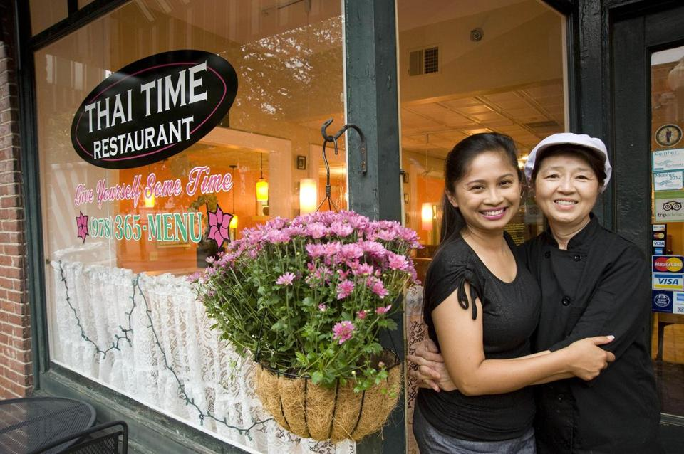 Co-owner Fawn Weydt (left) and employee Charin Jiraratwatrana of Thai Time in Clinton.