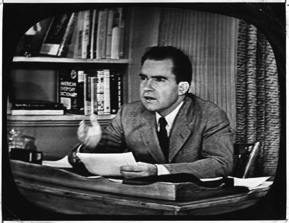 "Richard Nixon gives his famous ""checkers speech"" on TV."