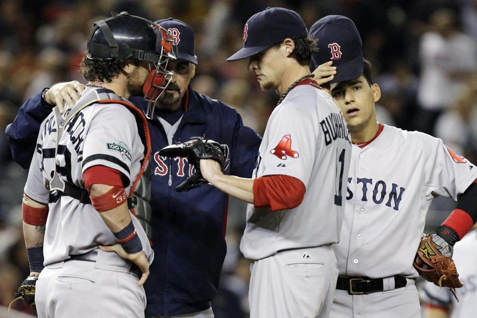Starter Clay Buchholz gave up eight runs in less than two innings.