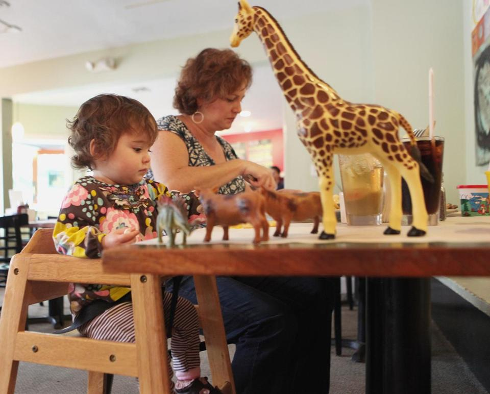Kathy Rushe and her niece, Terese Hurley, had lunch at the toy-filled Full Moon restaurant in Cambridge.