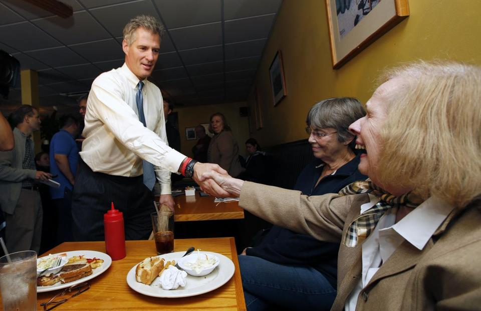Senator Scott Brown met with constituents during a campaign stop at a diner in Winchester on Wednesday.