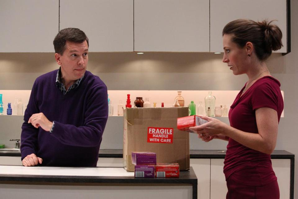 "John Kooi and Jessica Webb in Boston Playwrights' Theatre's production of Jaclyn Villano's ""The Company We Keep."""