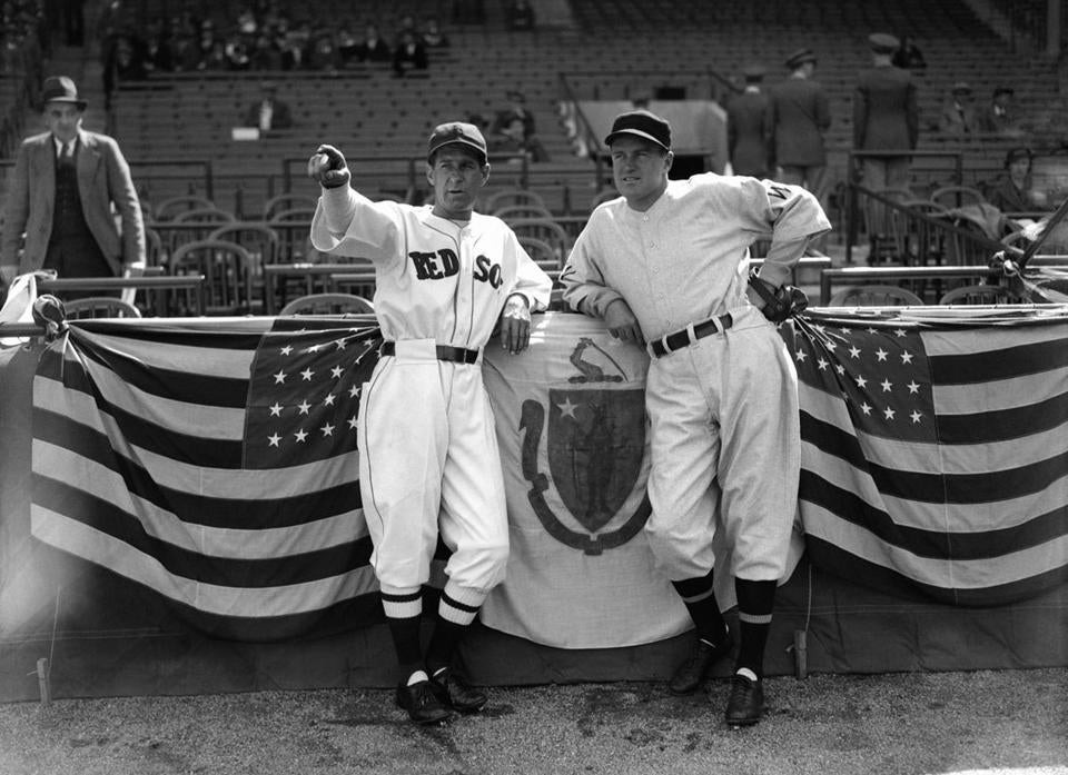Red Sox manager Bucky Harris, left, and Washington Senators manager Joe Cronin look over improvements at Fenway Park on April 17, 1934, just before the first game of the season.