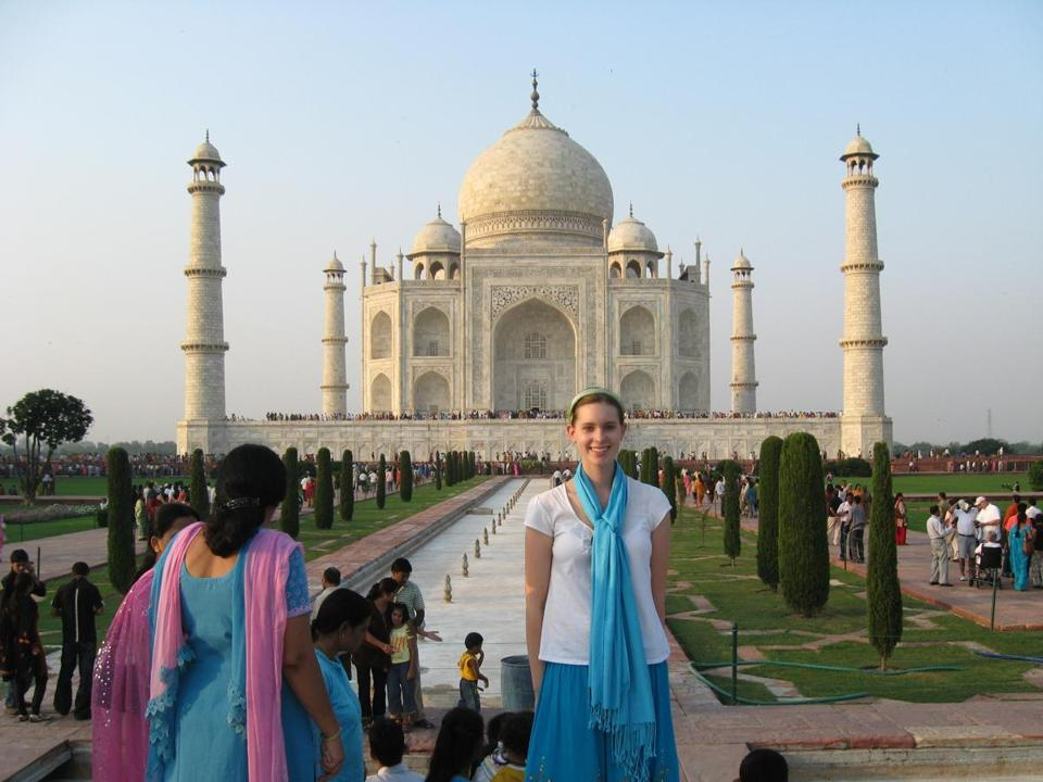 Brooke Loughrin (at the Taj Mahal in India in 2008) has been interested in helping people in other countries since she was in grade school.