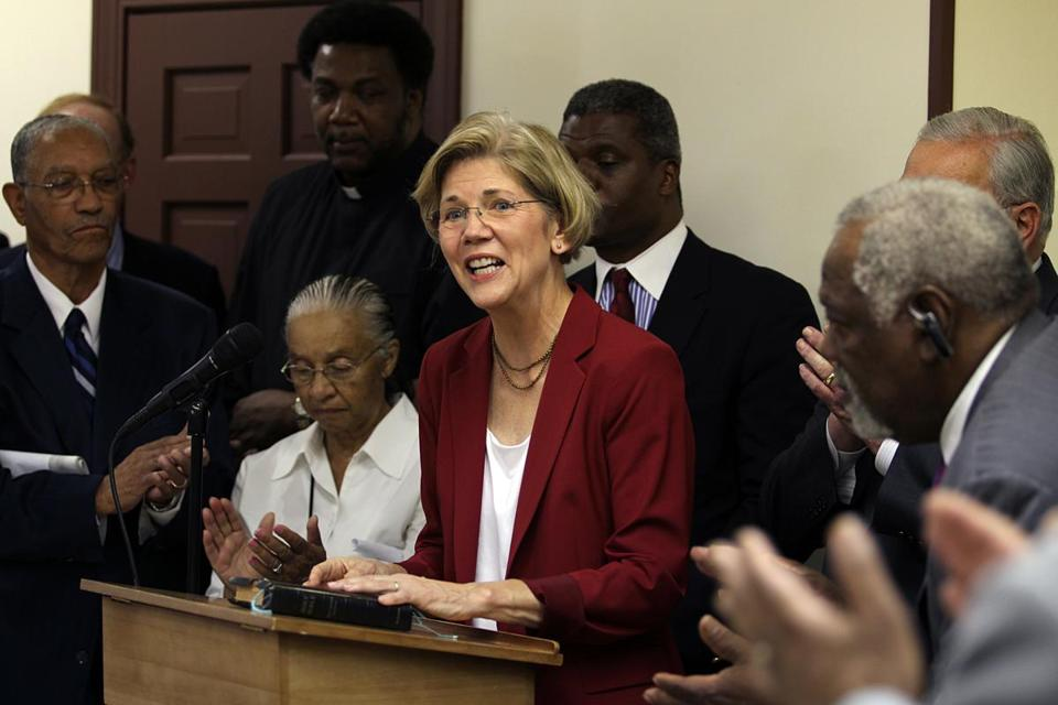 Elizabeth Warren joined black clergy members at Twelfth Baptist Church in Roxbury Thursday.