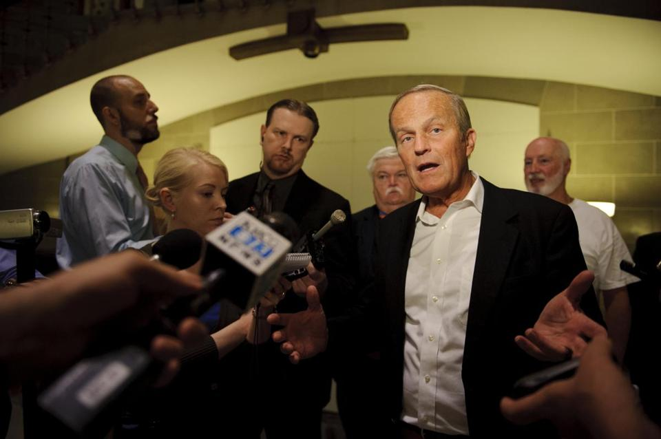 Republican Rep. Todd Akin spoke to reporters in the Missouri Capitol building on Thursday.