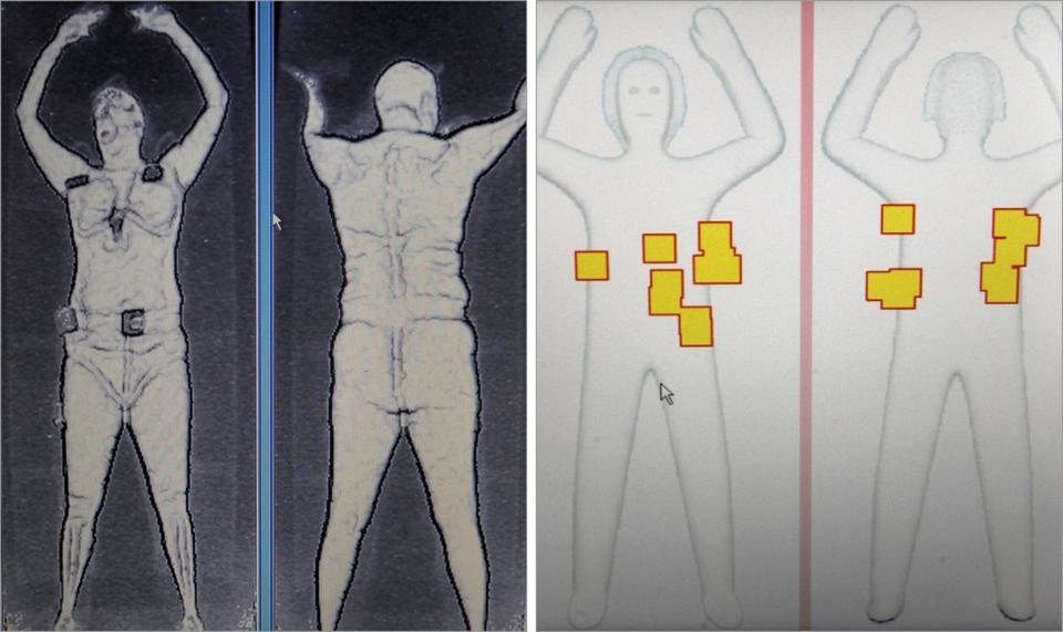 Revealing images, left, were seen by agents in private rooms. Now, gender-neutral outlines, right, are visible to traveler and TSA.