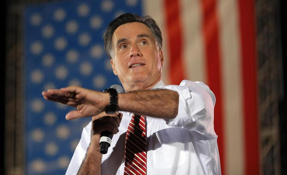 Mitt Romney addressed a rally Thursday in Virginia.