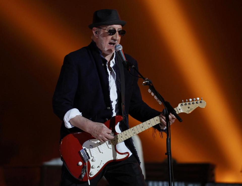 "Pete Townshend of British rock band ""The Who"" performed during the halftime show for the NFL's Super Bowl XLIV football game between the New Orleans Saints and the Indianapolis Colts in Miami, Florida on February 7, 2010."