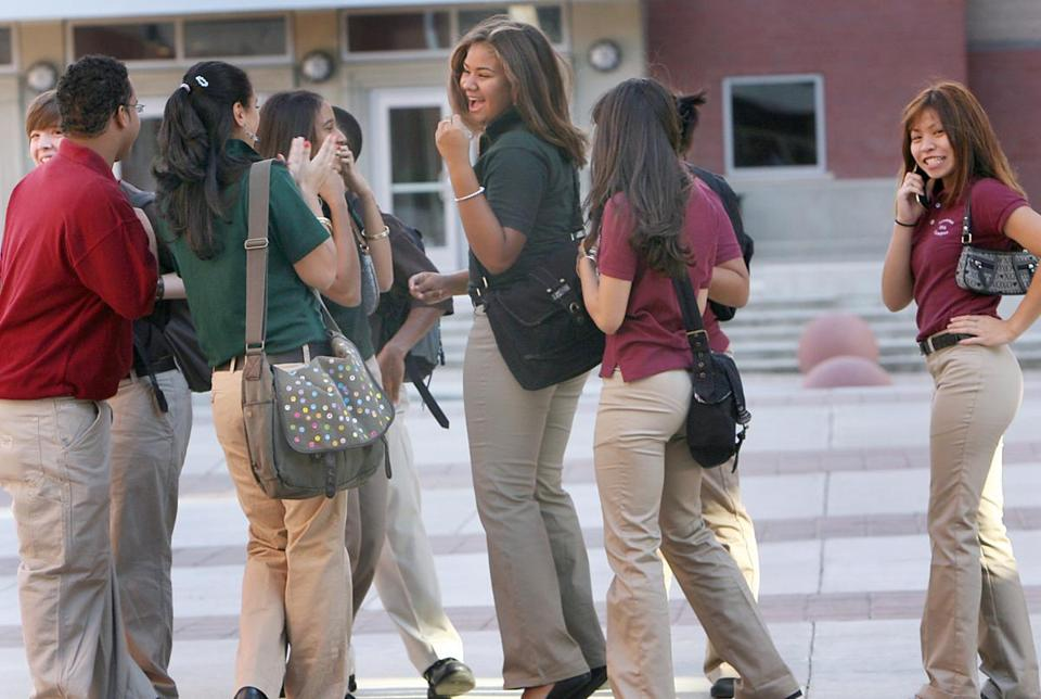 Students were required to wear color-coded uniforms in conjunction with the opening of the new Lawrence High School in 2007.
