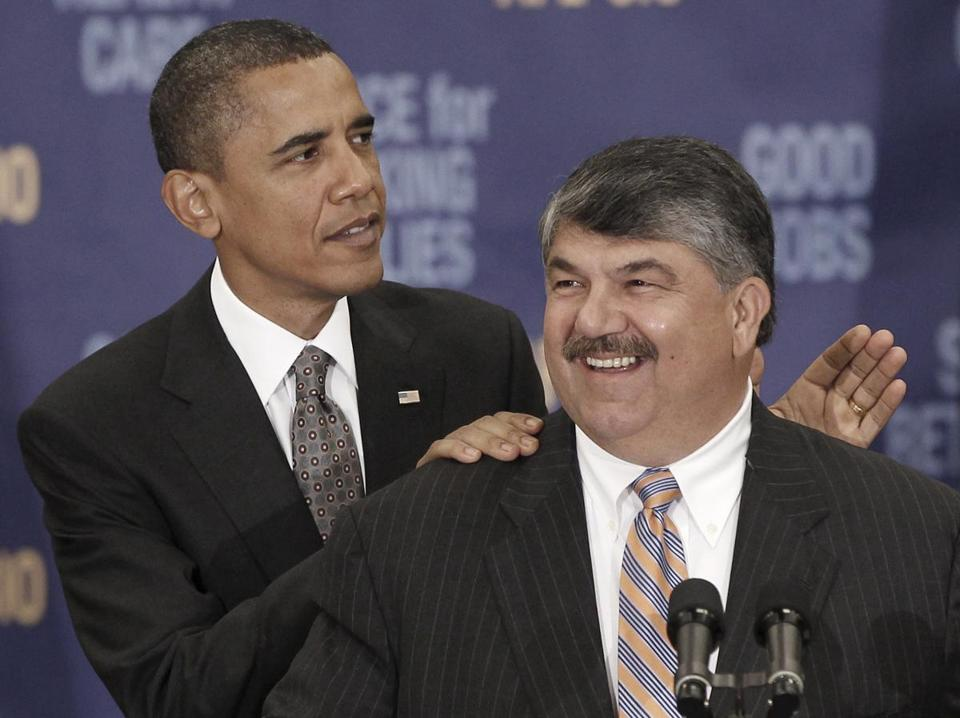 President Obama, shown with AFL-CIO president Richard Trumka in 2010, has clashed with labor unions over several issues, including foreign trade agreements. But unions are supporting his reelection bid.