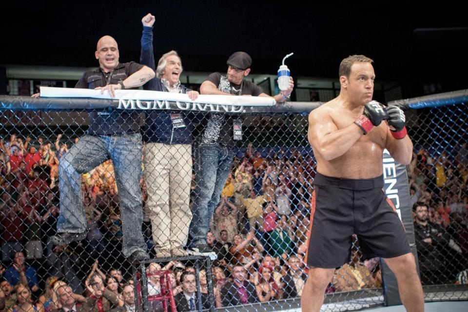 "From left: Bas Rutten, Henry Winkler, Mark DellaGrotte, and Kevin James star in ""Here Comes the Boom."""