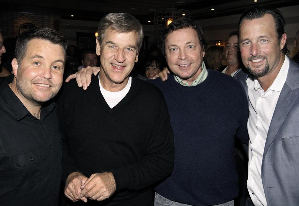 From left: Ken Casey, Bobby Orr, Bobby Farrelly, and Tim Wakefield at Turner's Yard Gastropub in Pembroke.