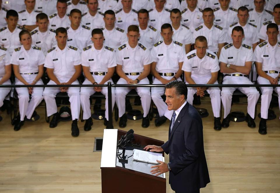 Mitt Romney spoke about foreign policy at the Virginia Military Institute in Lexington, Va.