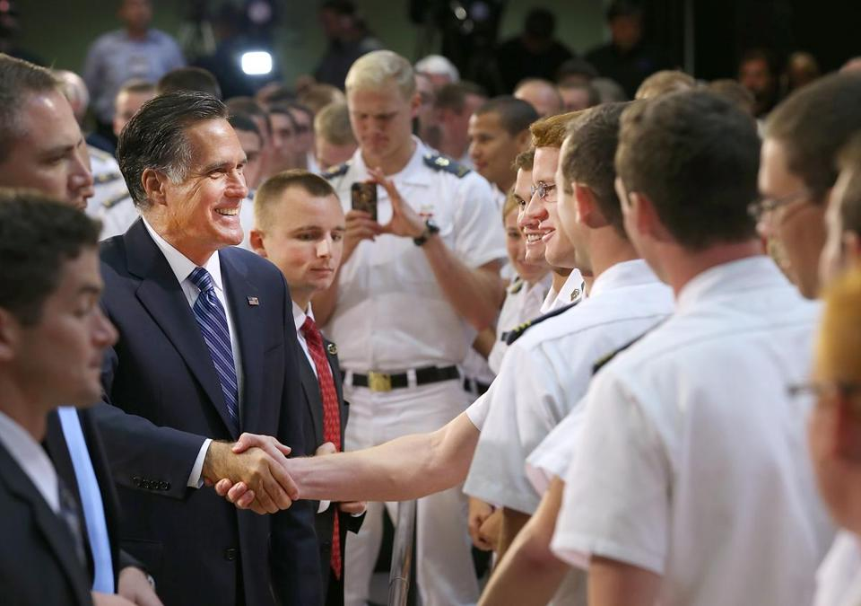 Mitt Romney greeted cadets after delivering a foreign policy speech at the Virginia Military Institute Monday.