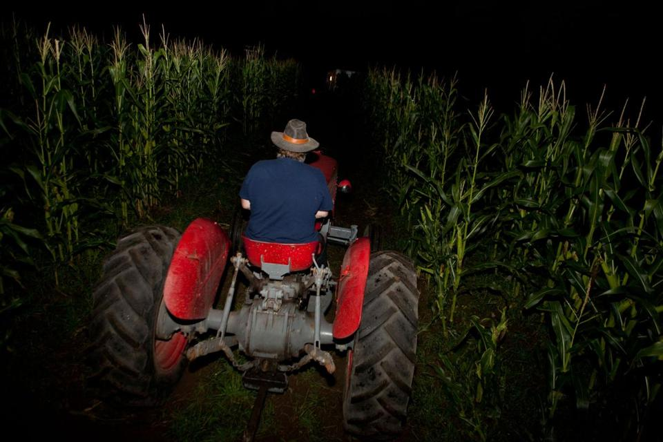 Bruce Osborn guides Hanson's Haunted Hayride through cornfields in Framingham on Friday and Saturday nights.