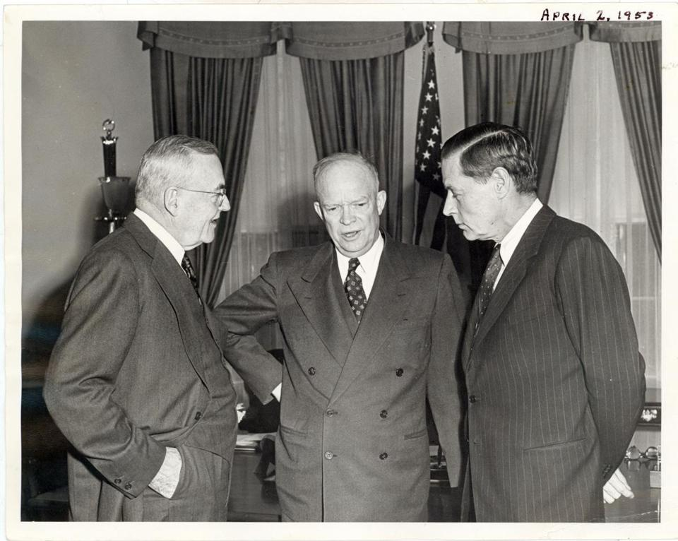 Eisenhower with Secretary of State John Foster Dulles (left) and Charles Bohlen (right), ambassador to the Soviet Union.
