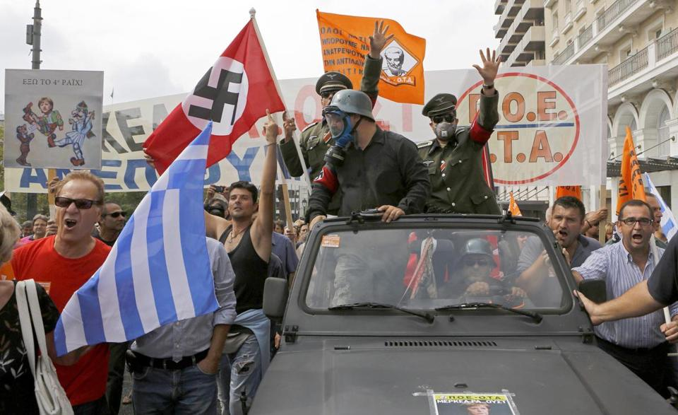 About 7,000 police were on hand in Athens during protests against austerity plans.