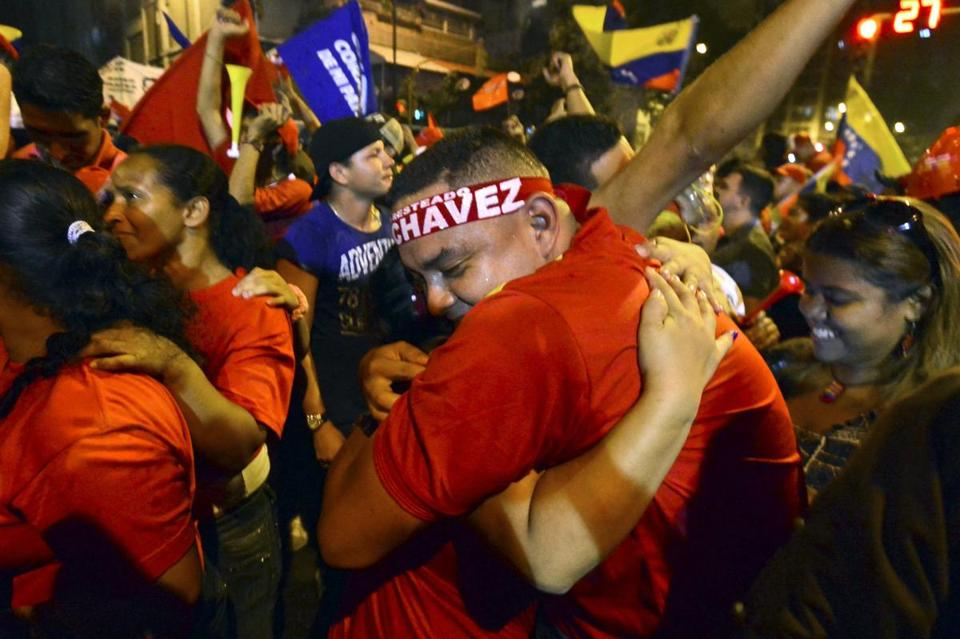 Supporters of Hugo Chavez celebrated in Caracas upon hearing of his victory in Venezuela's presidential election Sunday.