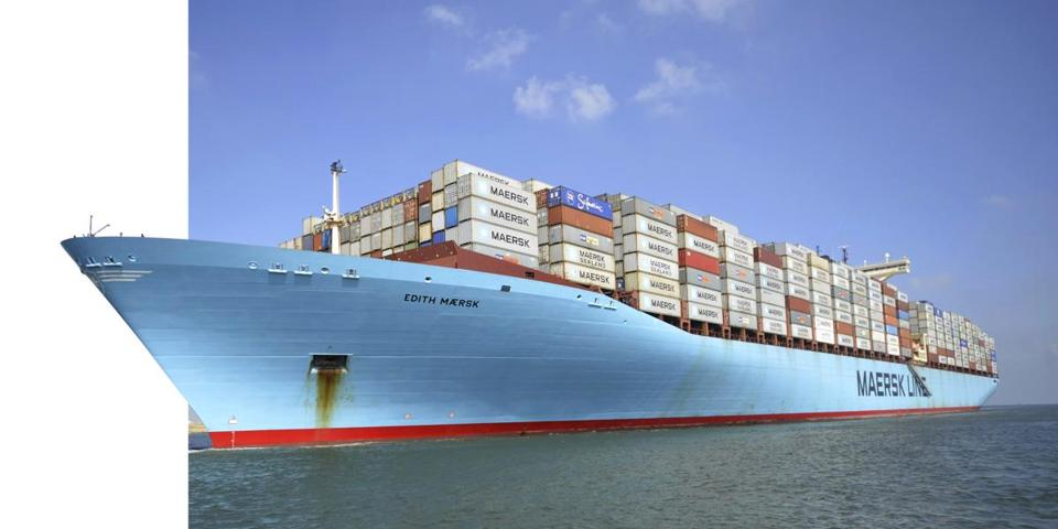 Container ship Edith Maersk crossed the Suez Canal northeast of Cairo Friday.