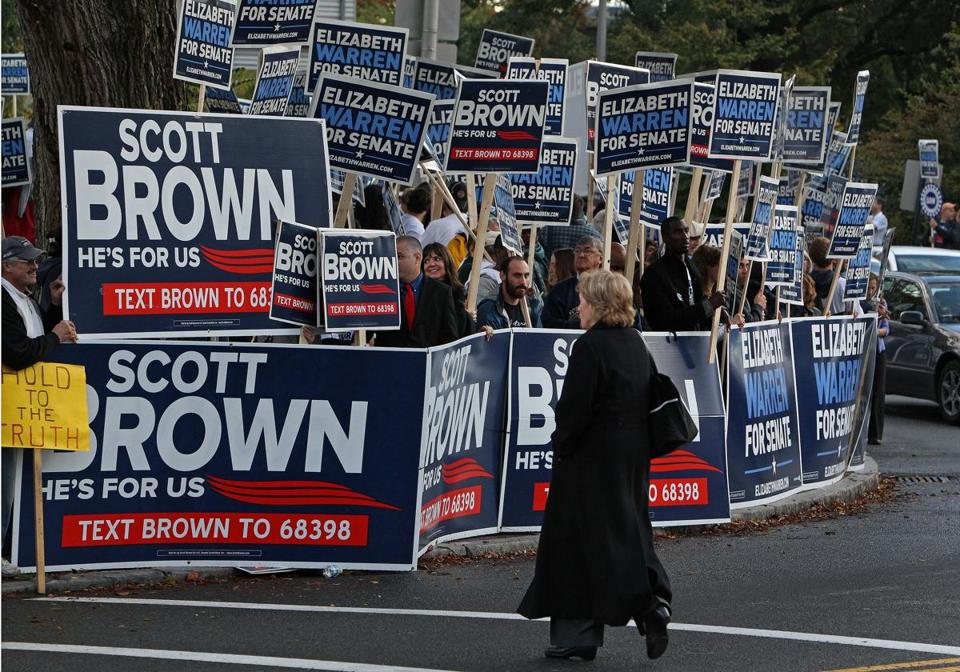 Supporters of Scott Brown and Elizabeth Warren were outside Springfield Symphony Hall ahead of tonight's third debate.
