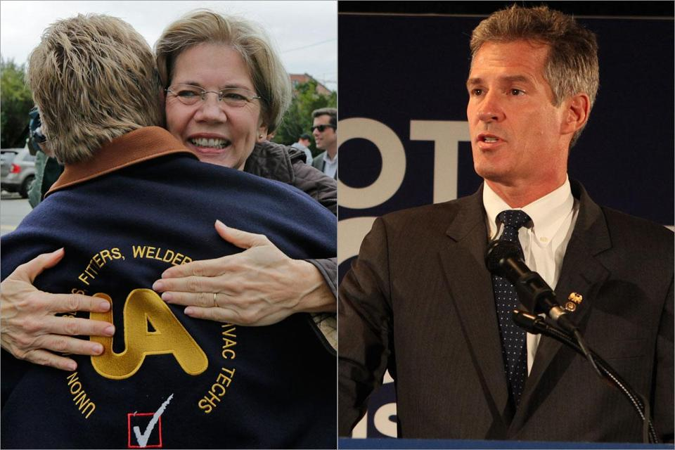 Elizabeth Warren embraced Tom McGrath of Pipefitters Local 537 in Boston. Senator Scott Brown received the endorsement of Christine Todd Whitman, former Republican governor of New Jersey.