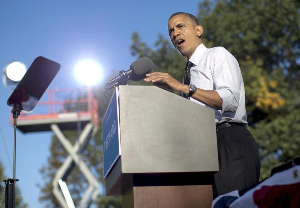 President Obama was on the stump Tuesday at Ohio State University.