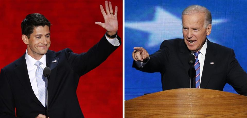 Vice President Joe Biden, right, and Republican vice-presidential nominee Paul Ryan will face off Thursday night.