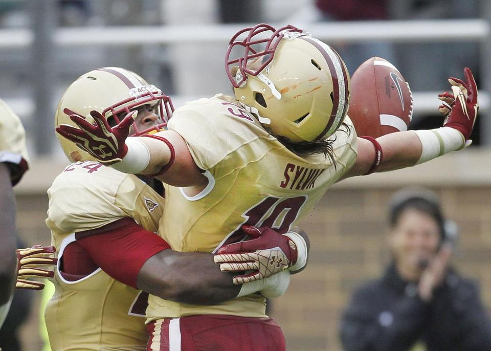 Boston College's Sean Sylvia has gone from free safety to corner, one of several on the defense who have had to change positions because of injuries.