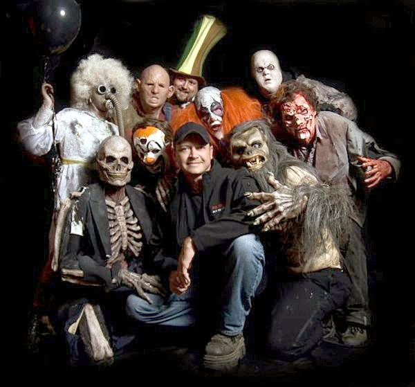 Mike Krausert is front and center among some of the creepy cast of scary creatures at Nightmare New England.