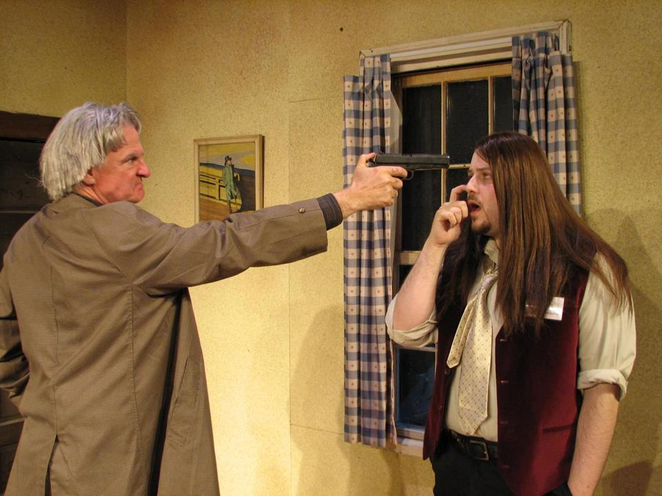 "Jeff Gill (left) and Greg Maraio in ""A Behanding in Spokane"" at Charlestown Working Theatre."