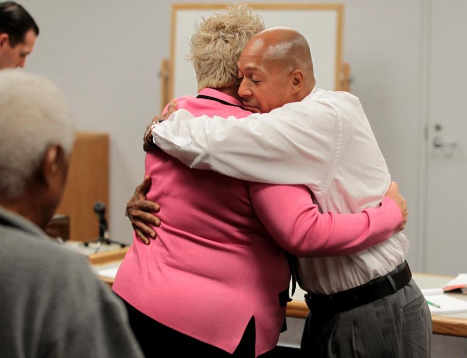 Shawn Drumgold hugged his attorney Rosemary Scapicchio after his drug charges dismissed Friday.
