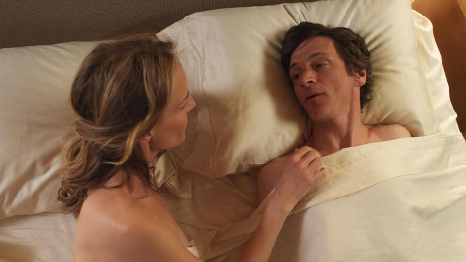 "Helen Hunt plays a sex surrogate and John Hawkes the disabled man she helps in ""The Sessions."""