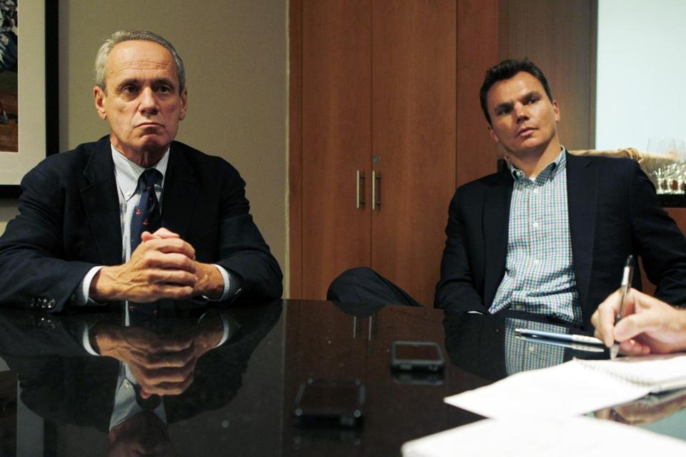 Red Sox CEO Larry Lucchino, left, and GM Ben Cherington will be meeting with candidates for the team's manager job.
