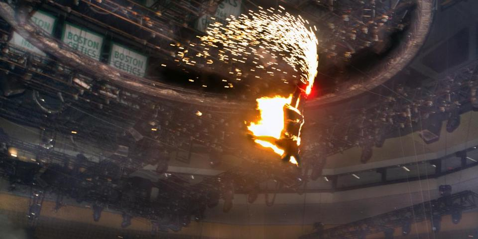 Brian Miser, the Human Fuse, launched from a self made crossbow across the TD Garden floor while on fire at the Ringling Bros. and Barnum & Bailey Circus.