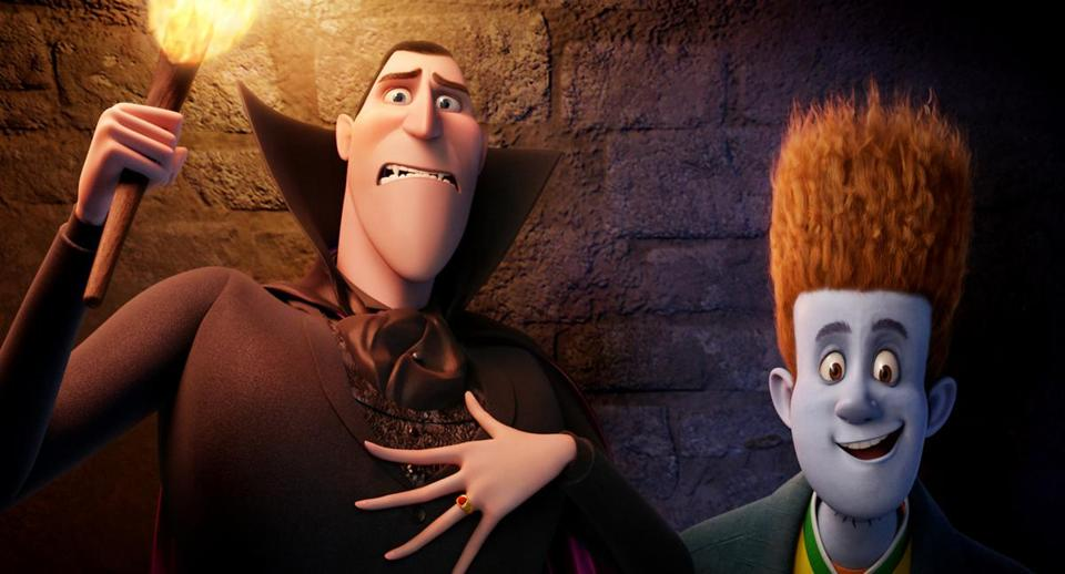 "Dracula, voiced by Adam Sandler, left, and Johnnystein, voiced by Andy Samberg in a scene from ""Hotel Transylvania."""