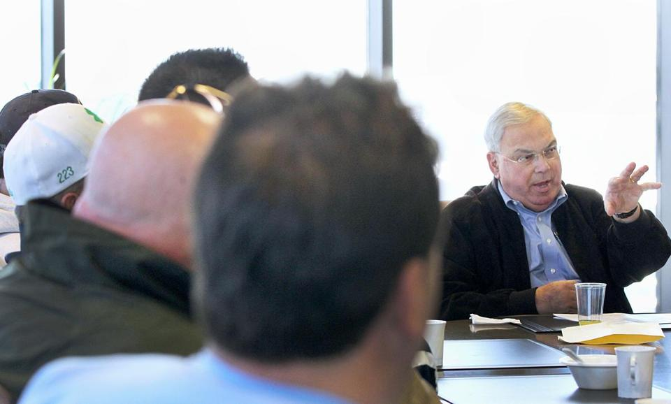 Mayor Thomas M. Menino and local union leaders discussed how to aid Elizabeth Warren.