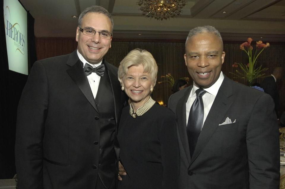 Visiting Nurse Association of Boston CEO Reynold Spadoni (left) with honorees Sandra Fenwick, president of Boston Children's Hospital, and Ronald Walker II, president of Next Street.
