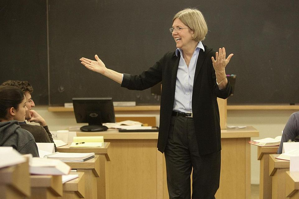 Elizabeth Warren is known for pushing students without being mean at Harvard Law School.