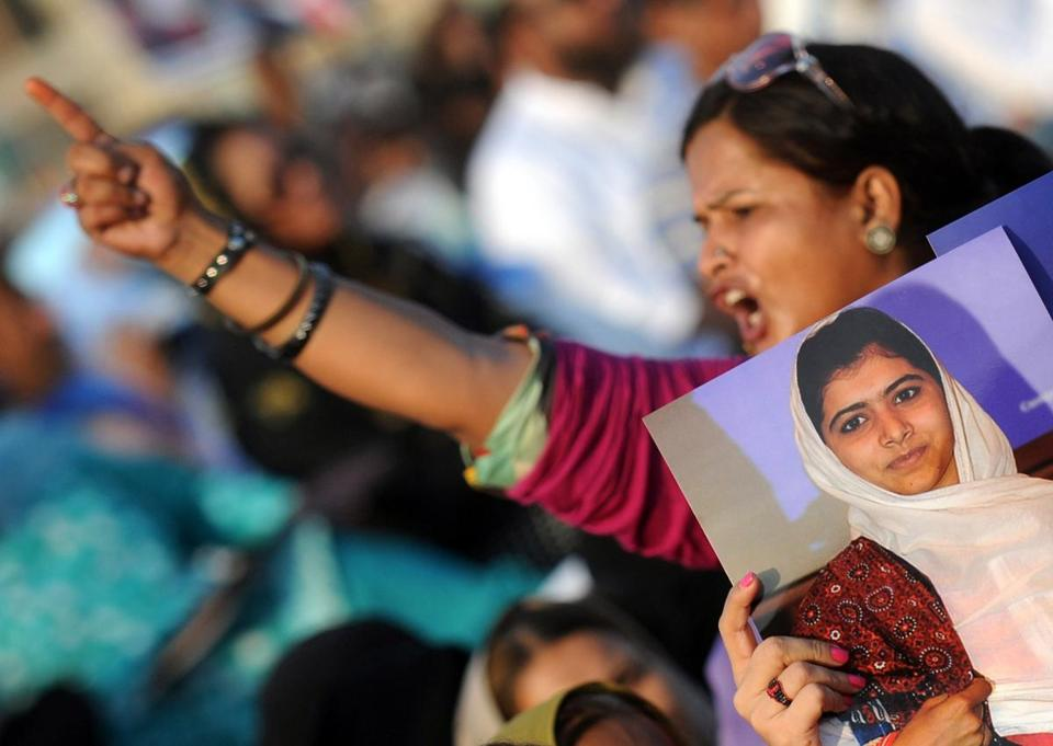 A Pakistani woman shouted slogans during a protest Sunday against the shooting of child activist Malala Yousufzai.