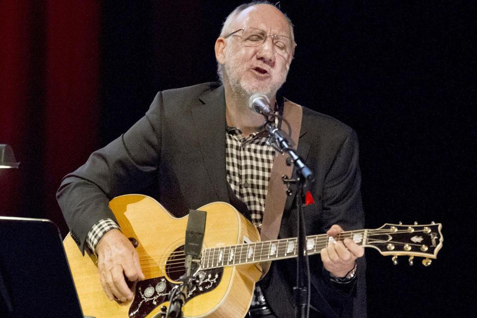 Pete Townshend performing a short acoustic set following a talk at Berklee Performance Center on Friday.