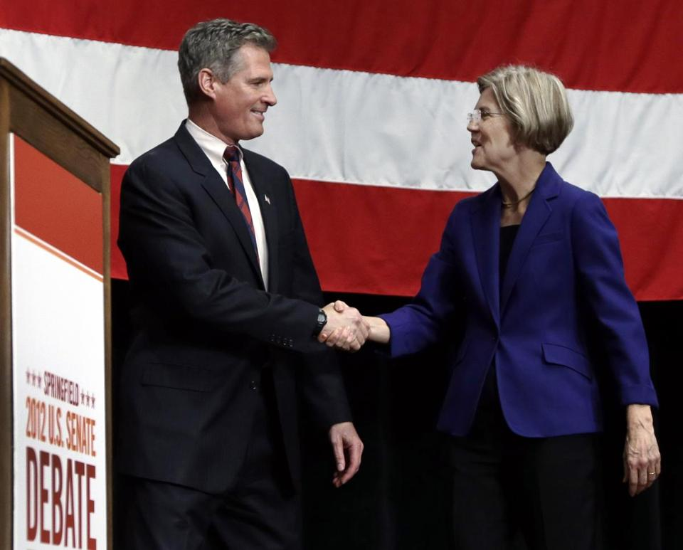 Senator Scott Brown and Elizabeth Warren shook hands prior to their debate last Wednesday in Springfield.
