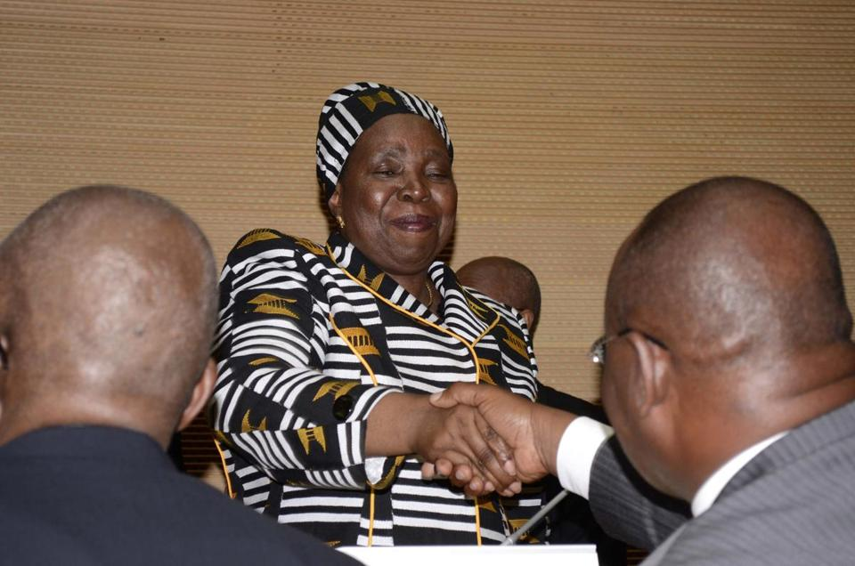 New African Union chairwoman Nkosazana Dlamini-Zuma shook hands with delegates in Addis Ababa.