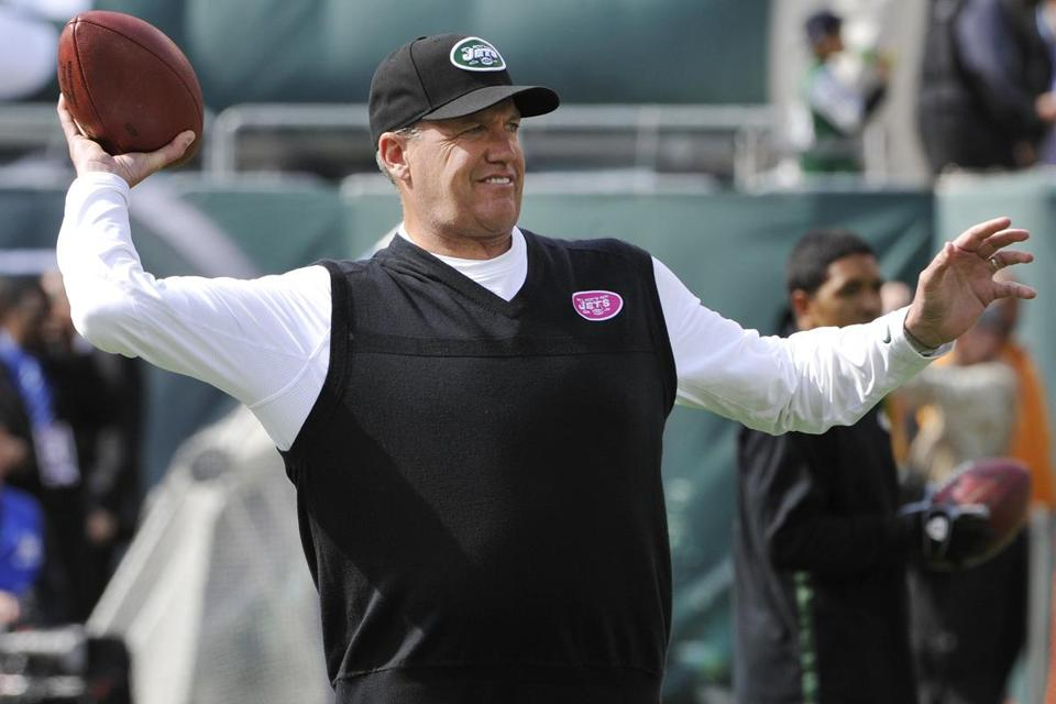 Rex Ryan airs it out before Sunday's game, but a strong ground attack got the Jets their third victory of the season.