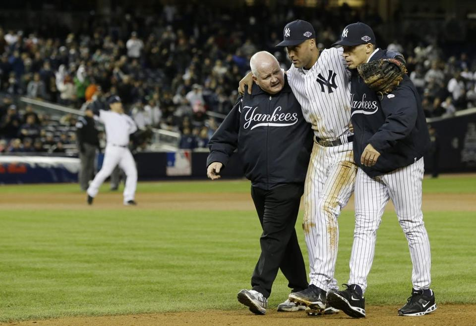 Derek Jeter was injured while fielding a routine ground ball in the 12th inning of Game 1 early Sunday morning.