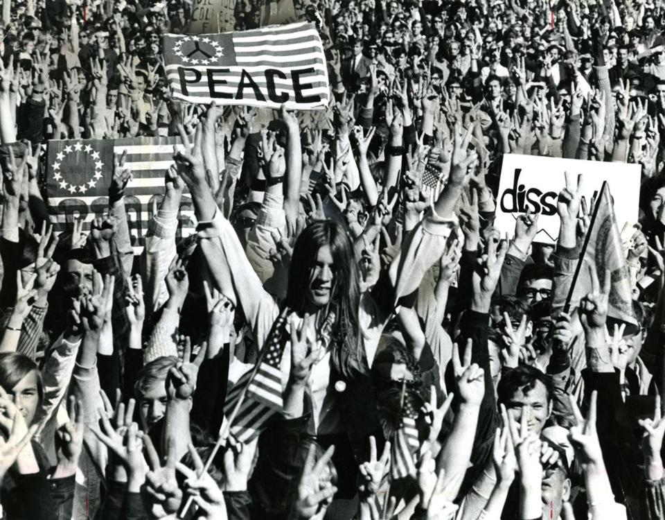 "The biggest demonstration in Boston's history brought the Vietnam Moratorium Day activities to Boston Common in 1969 as an estimated 100,000 persons shouted in cadence that they wanted the Vietnam war ended ""Now!"""