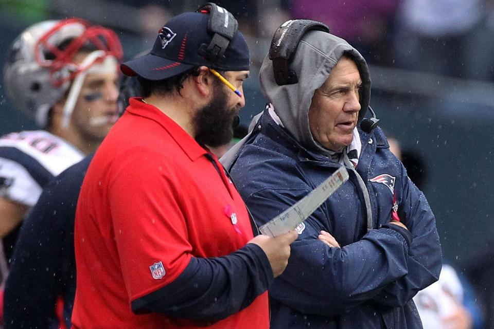 Patriots coach Bill Belichick (right) and defensive coordinator Matt Patricia didn't have enough answers in the fourth quarter Sunday, and it won't get any easier against the Jets.