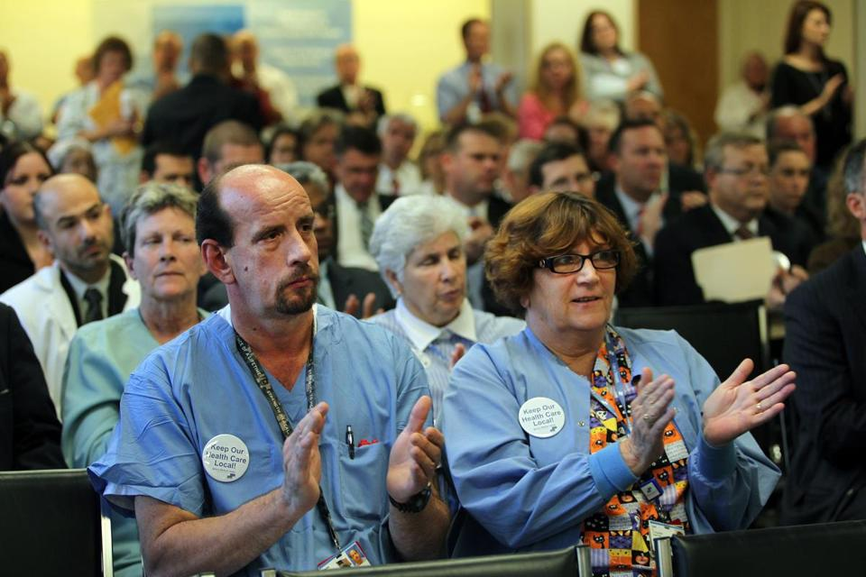 Charles and Carol Hurd were among those who turned out at a public hearing Wednesday to support Quincy Medical Center's proposal.