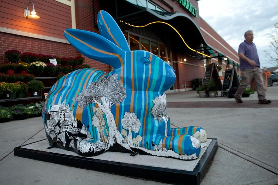 """Townie,'' by Marietta Apollonio, has been on view in front of Whole Foods Market in the Legacy Plaza shopping center in Dedham."