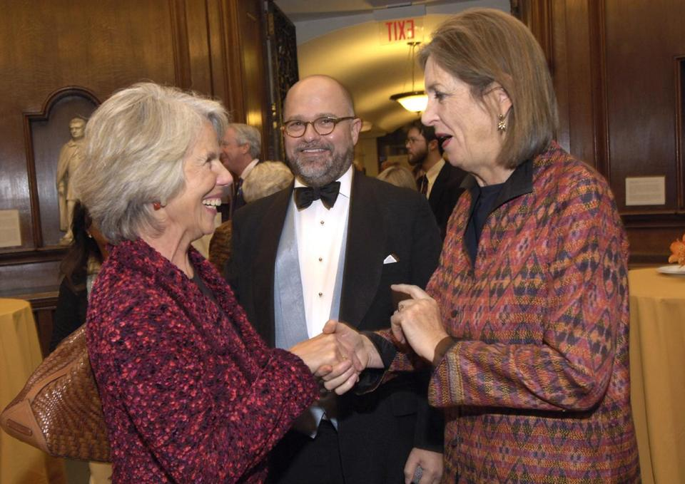 Baroness Blackstone (left), Brenton Simons, and Janet Spitz at the BPL.